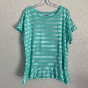 Lands' End | striped short sleeve top ruffle L